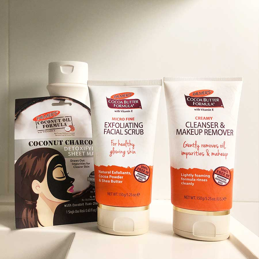 Palmers skincare range including face mask and moisturiser